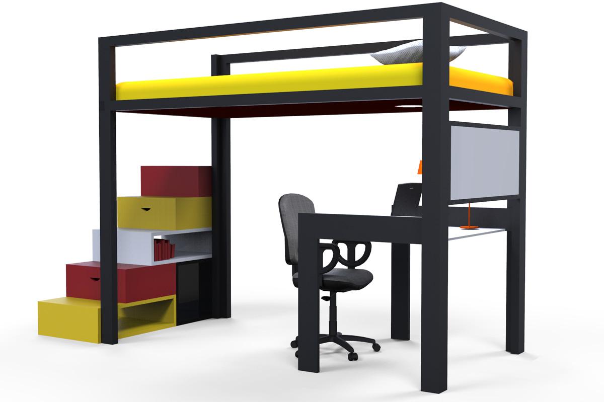 Cama estanter a y escritorio mobiliario tres en uno for Cama escritorio